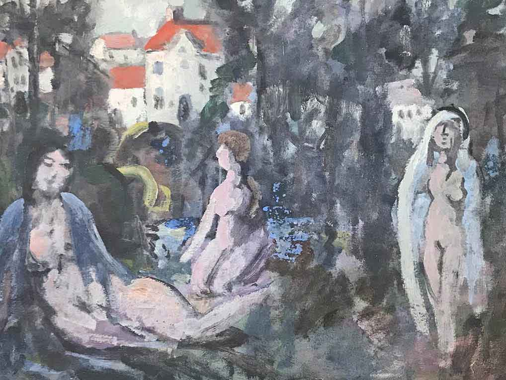 Three naked women in a wood with red-roofed buildings, loosely painted in a primitive style.