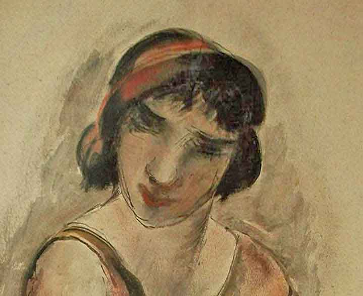 Lady in 1920s or 1930s costume with red hair band painted in a naive style.